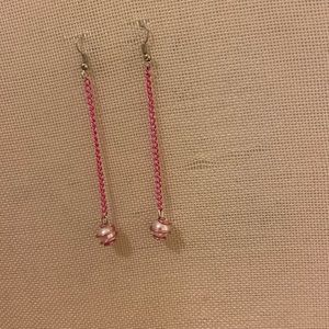 Jewelry - Wire wrapped pearl with pink chain